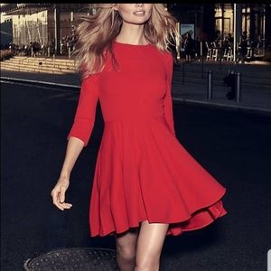 Red A line dress.